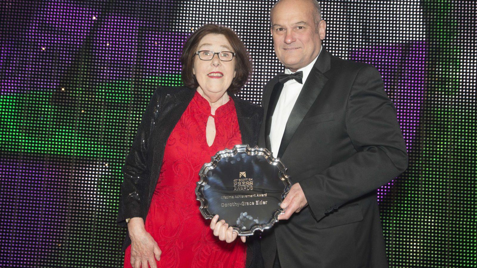 """LIFETIME ACHIEVEMENT AWARD 12"""" salver (C1503C/12) plus WS10 stand  Lifetime Achievement Award Dorothy Grace Elder"""