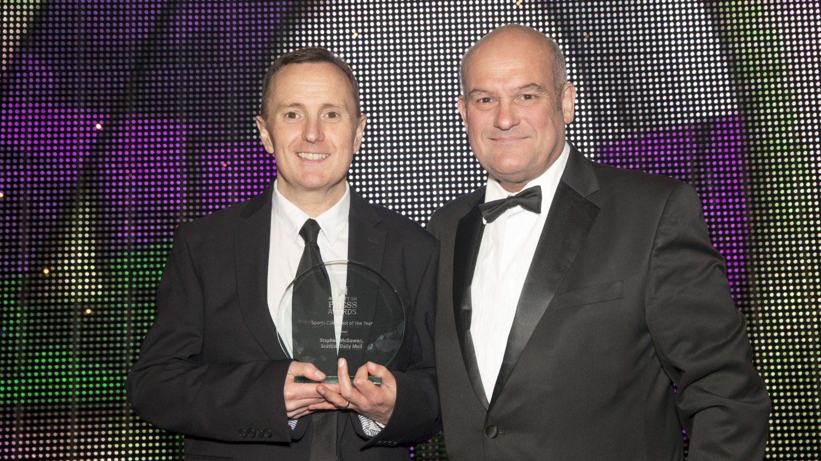 Sports Columnist of the Year Winner Stephen McGowan, Scottish Daily Mail